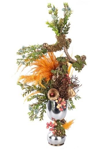 Kibrithane Çiçek Yapay Çiçek Metal Gümüş Vazo Doğal Kuru Çiçek Aranjman Kc00200855 Renkli